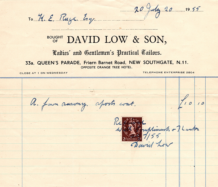 Invoice from David Low & Son