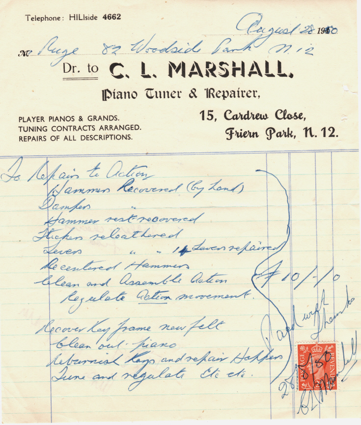 Invoice from C L Marshall