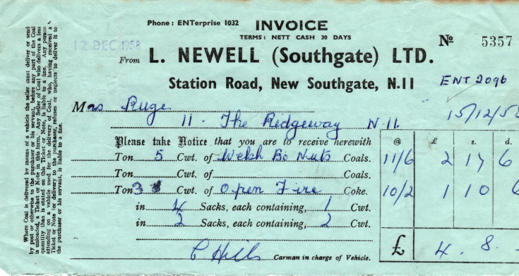 Invoice from L Newell