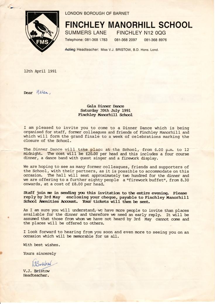 Finchley Manorside School Letter