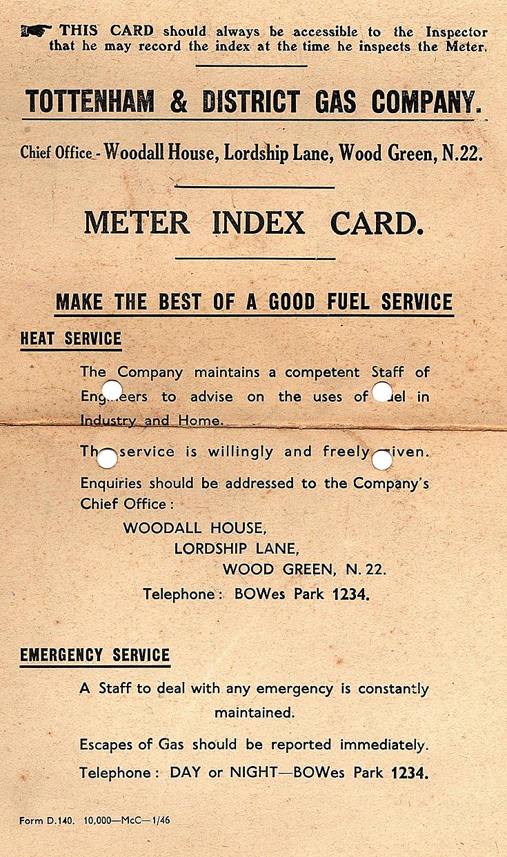 Gas meter card