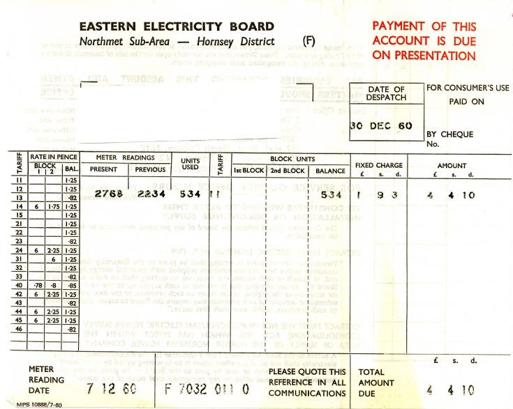 Invoice (Eastern Electricity Boasrd)