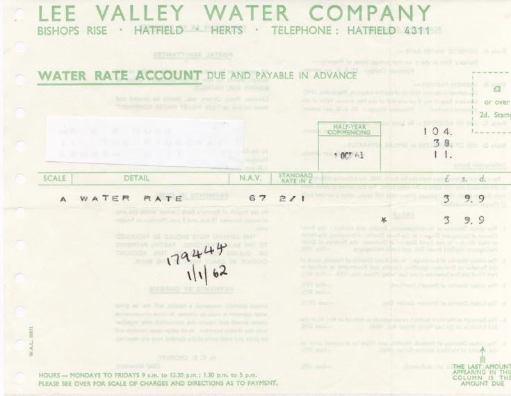 Invoice (Lee Valley Water Company)