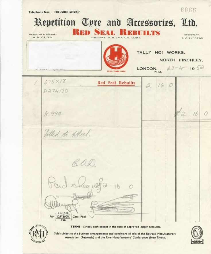 Invoice (Repetition Tyre & Accessories Ltd)
