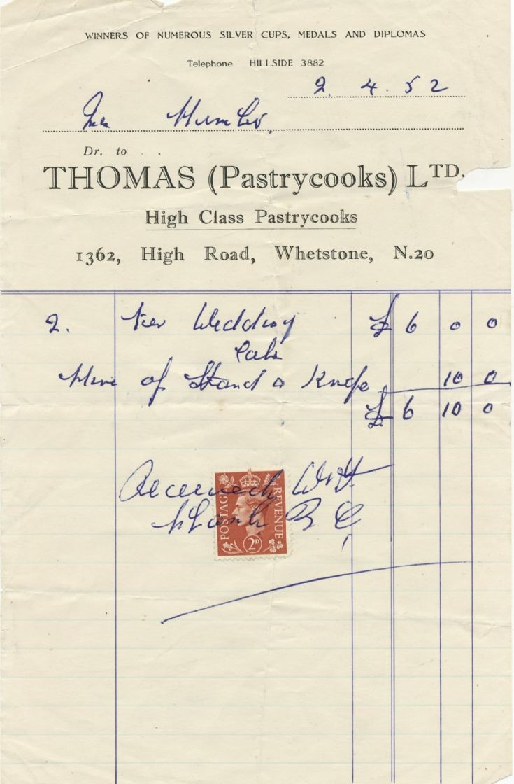 Invoice (Thomas (Pastrycooks) Ltd)