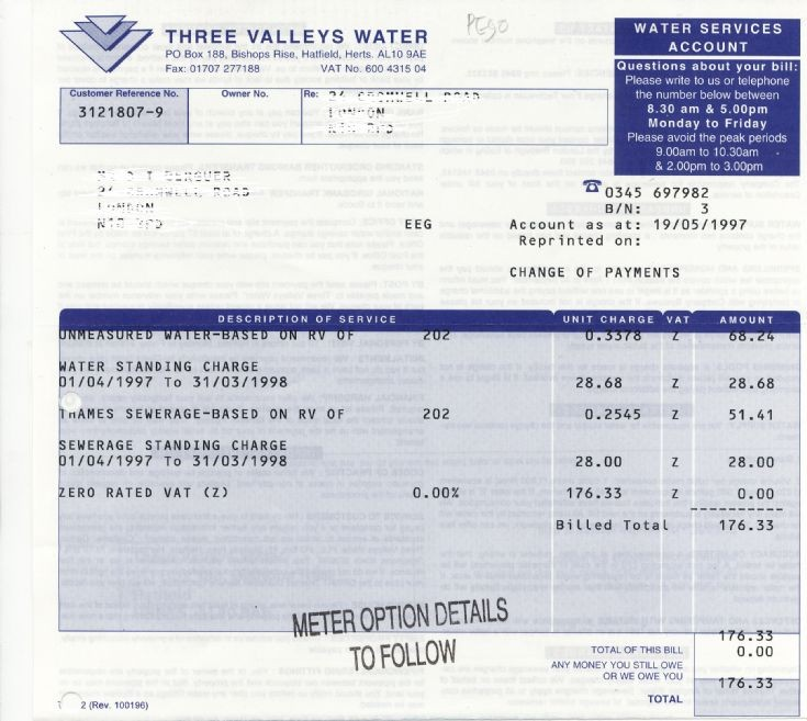 Invoice (Three Valleys Water)