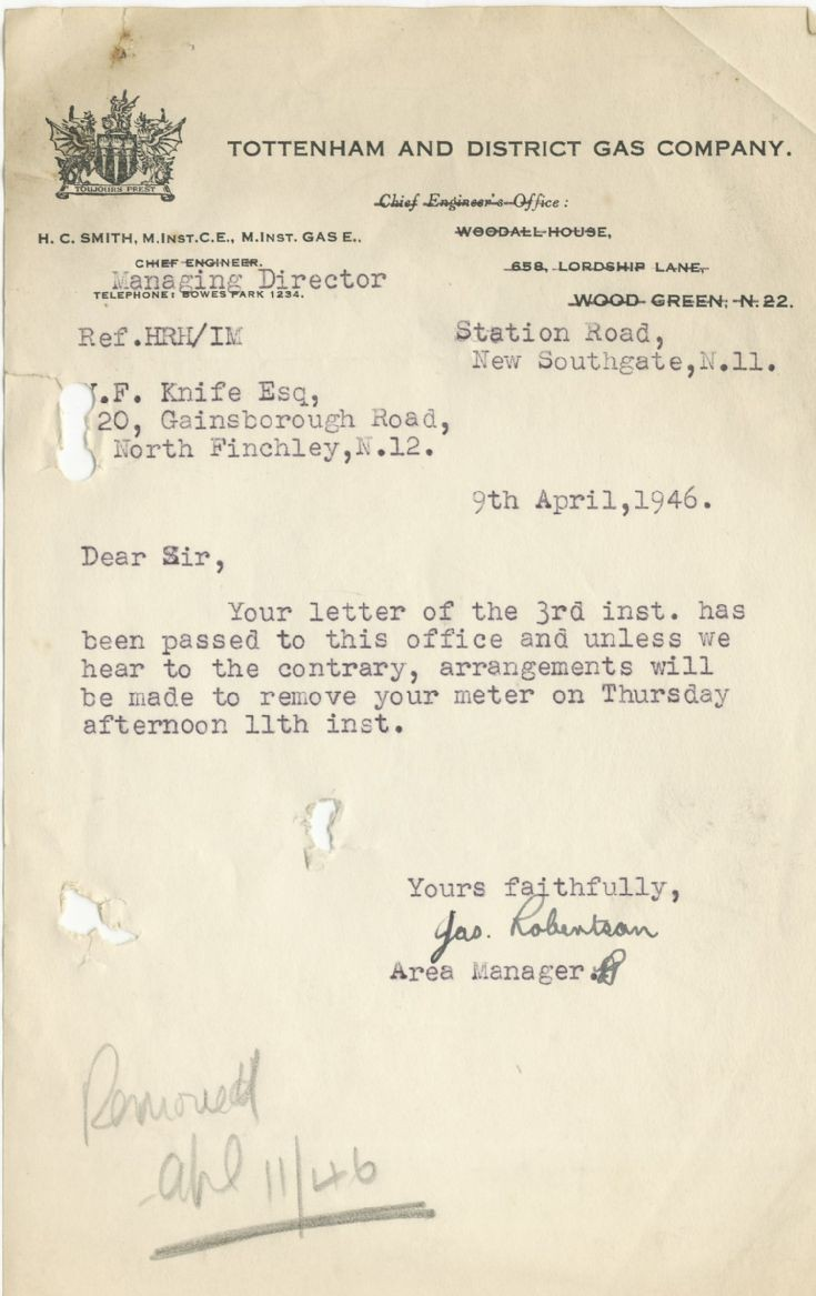 Letter (Tottenham & District Gas Co)