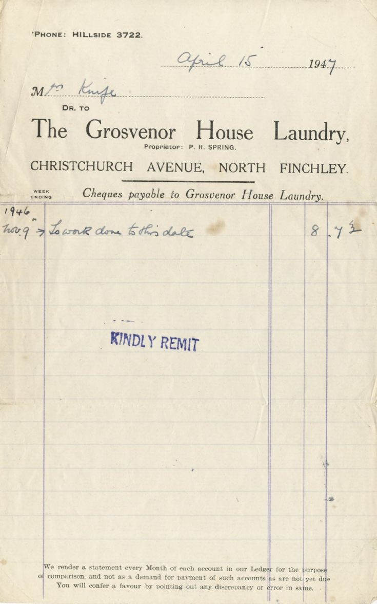 Invoice (The Grosvenor House Laundry)