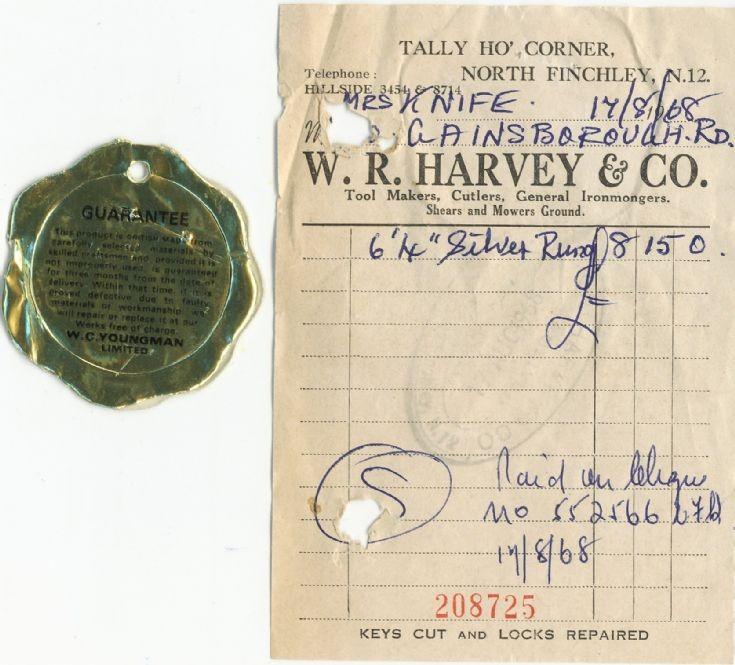 Invoice (W R Harvey)