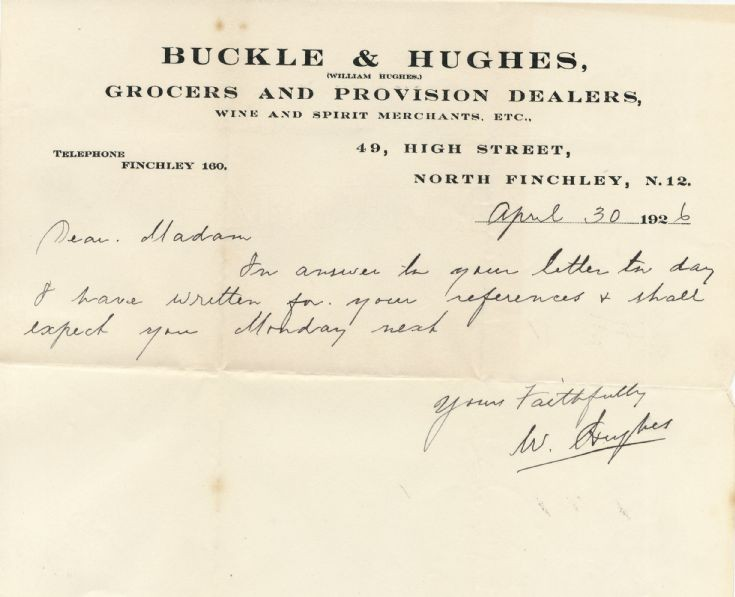 Letter (Buckle & Hughes)
