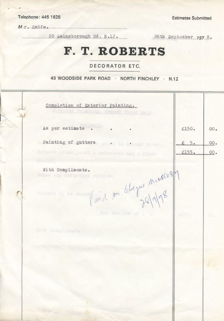 Invoice (F T Roberts)
