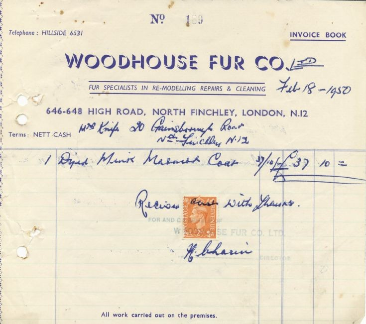 Invoice (Woodhouse Fur Co)