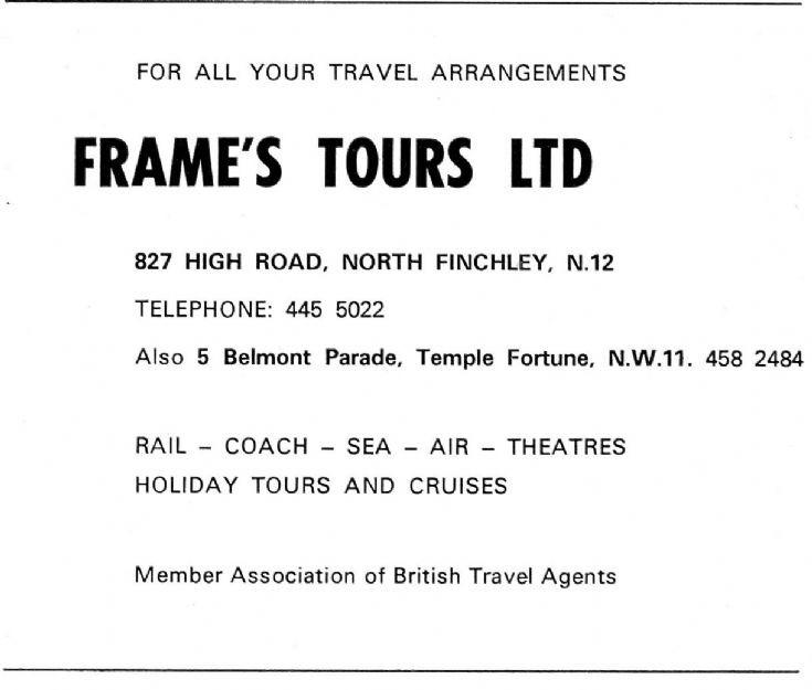 Frame's Tours