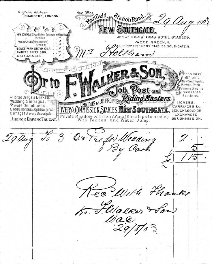Invoice (F Walker & Son)