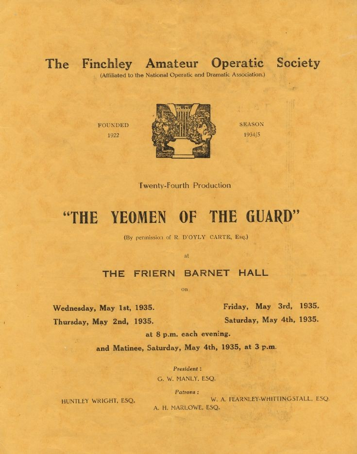 Programme (Finchley Operatic Society)