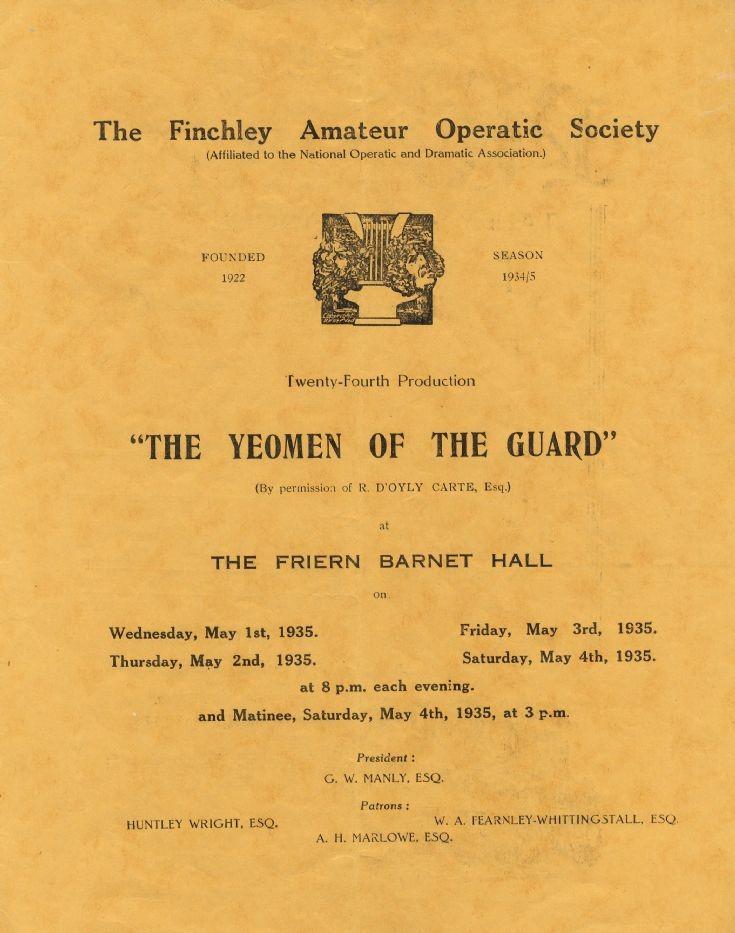 Programme (Finchley Operatic Society)