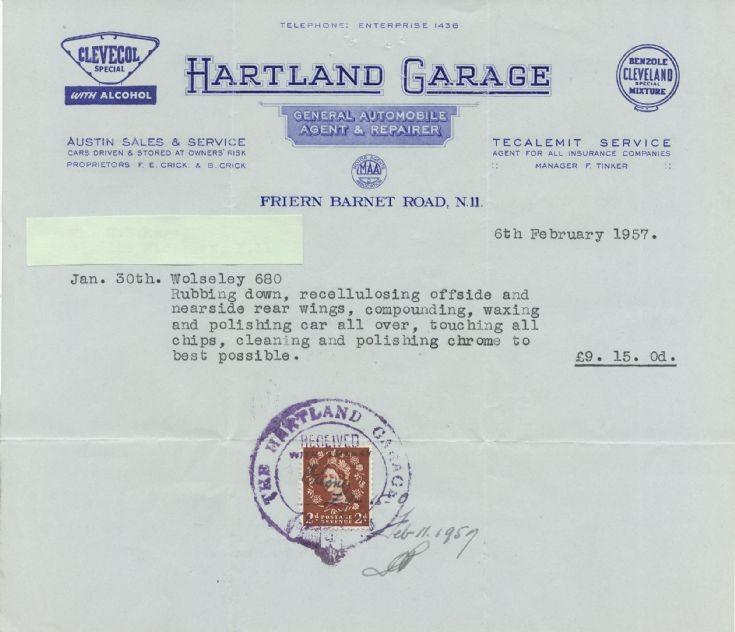 Invoice (Hartland Garage)