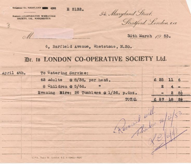 Invoice (London Co-operative Society)