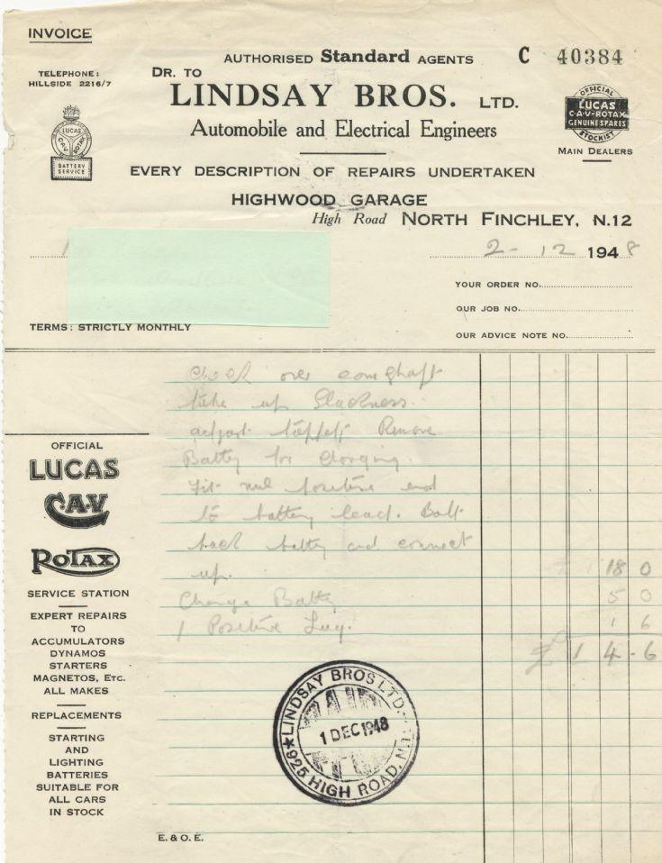 Invoice (Lindsay Bros Ltd)