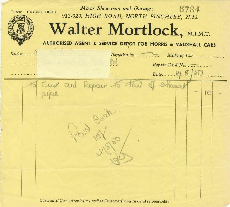 Invoice (Walter Mortlock)