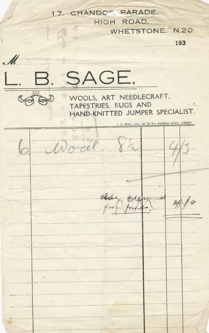Invoice (L B Sage)
