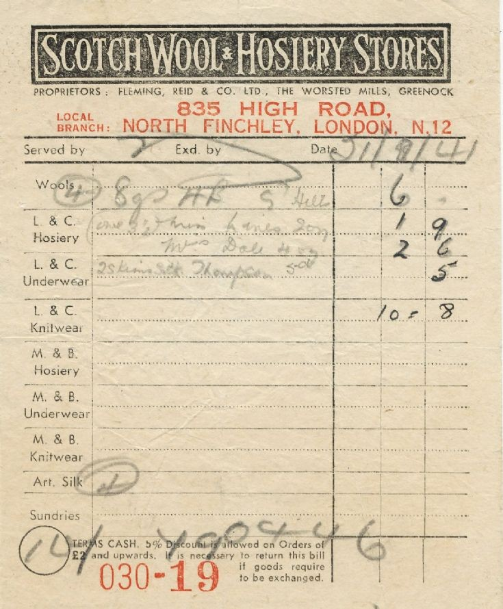 Invoice (Scotch Wool & Hosiery Stores)