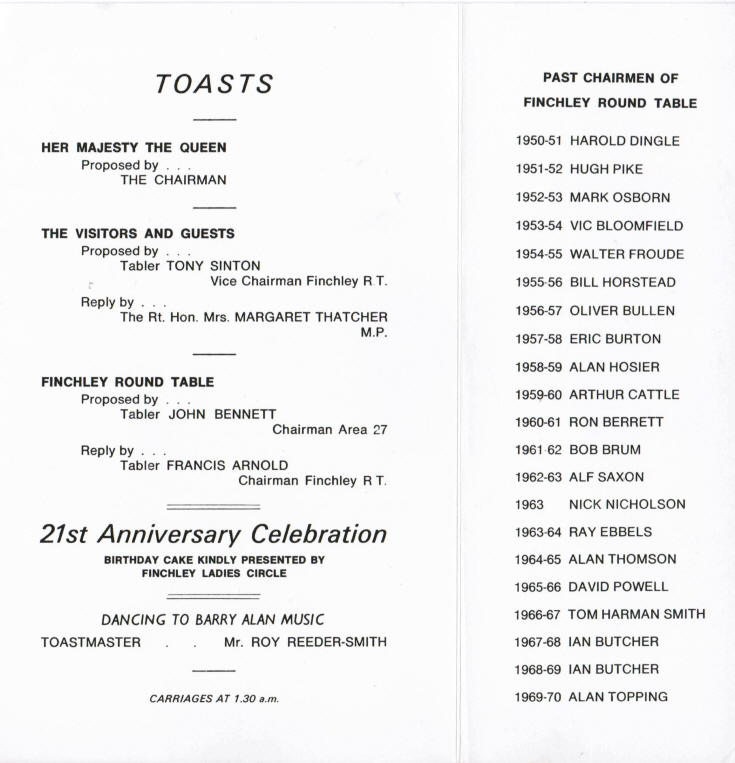 Menu (Finchley Round Table)