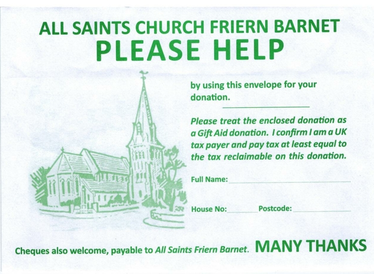 All Saints Chrch Donations envelope