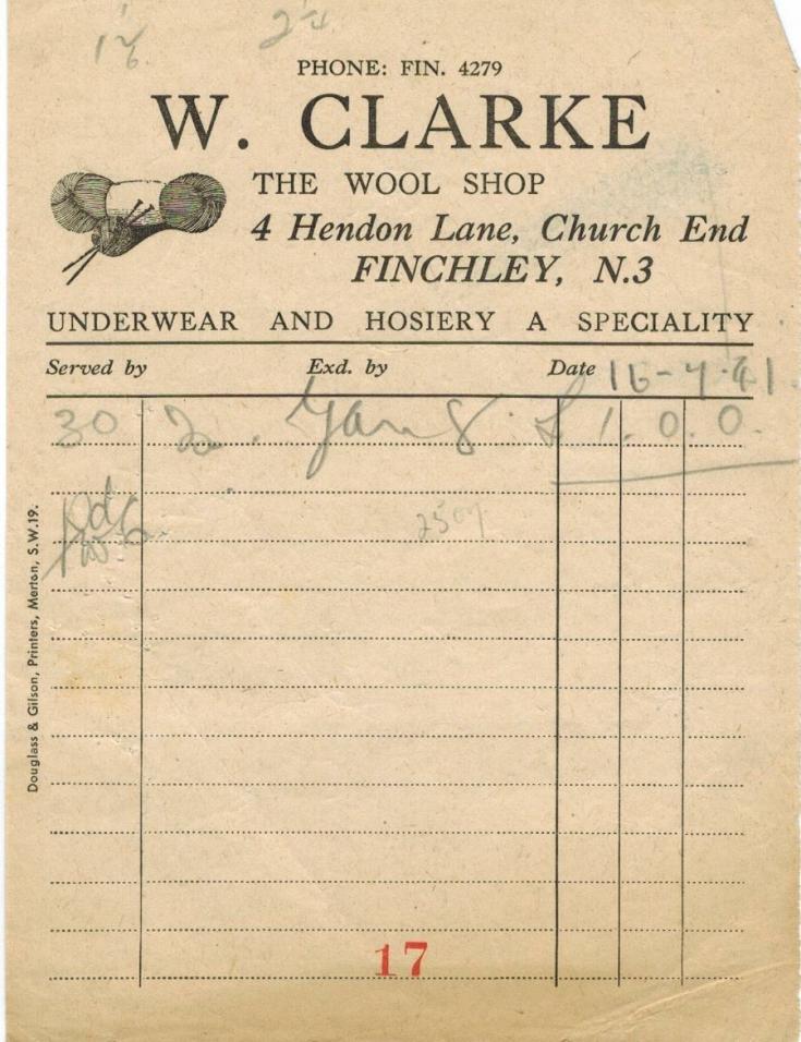 Invoice (W Clarke)