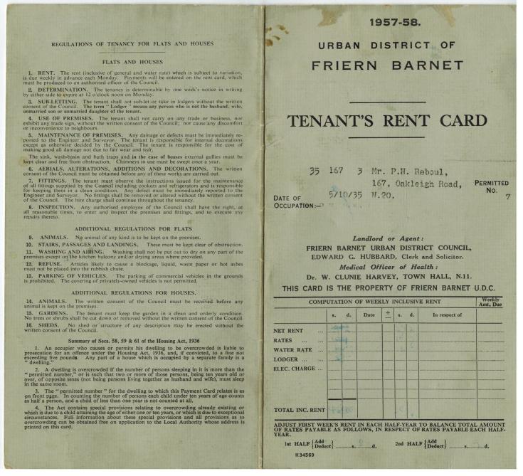 Rent Card (Friern Barnet UDC)