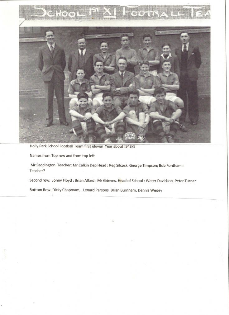 Holly Park Senior School football team 1948/49