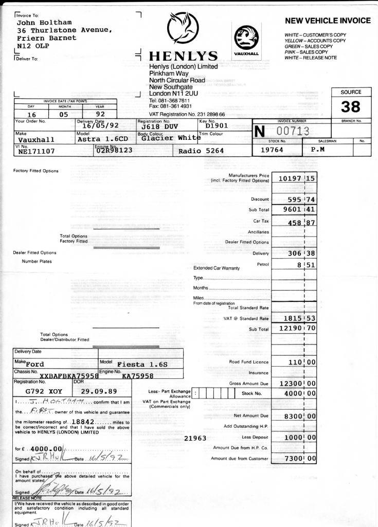 Invoice (Henlys)